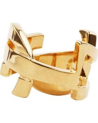 Saint Laurent | Metallic Gold Signature Monogram Ring | Lyst