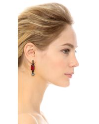 Oscar de la Renta - Octagon & Pear Earrings - Red/black - Lyst