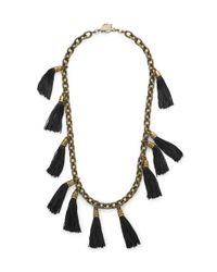 Lela Rose | Black Tassel And Chainlink Necklace | Lyst