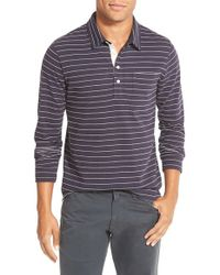 Billy Reid | Blue 'pensacola' Stripe Long Sleeve Polo for Men | Lyst