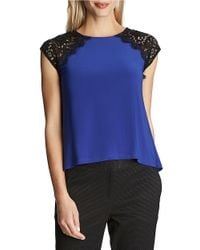 Cece by Cynthia Steffe | Blue Knit Lace Top | Lyst