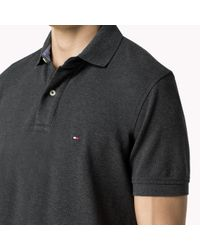 Tommy Hilfiger | Gray Cotton Pique Regular Fit Polo for Men | Lyst