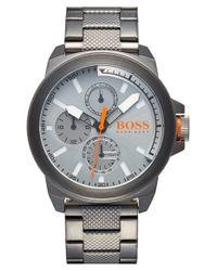 BOSS - Metallic 'new York' Multifunction Textured Link Bracelet Watch for Men - Lyst