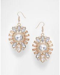 Lipsy | Metallic Deco Crystal Drop Earrings | Lyst