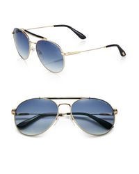 84c96a0eb5b20 Tom Ford Colin Metal Aviator Sunglasses in Blue for Men - Lyst