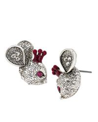 Betsey Johnson | Metallic Crystallized Mouse Stud Earrings | Lyst