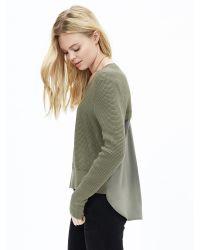 Banana Republic | Green Mixed-media Cropped Pullover | Lyst
