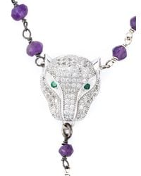 Katerina Psoma - Pink Beaded Panther Necklace - Lyst
