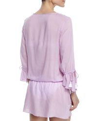 Letarte - Purple Femme Embroidered-trim Drawstring Tunic - Lyst