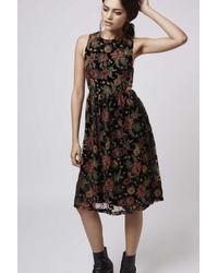 TOPSHOP | Black Devore Floral Midi Dress | Lyst