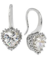Betsey Johnson - Metallic Silver-tone Crystal Heart Drop Earrings - Lyst