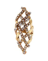 Erickson Beamon | Metallic 'heart Of Gold' Gauzy Crystal Ring | Lyst