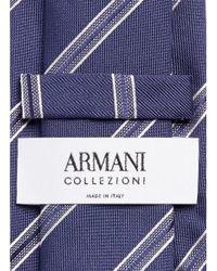 Armani - Blue Regimental Stripe Jacquard Silk Tie for Men - Lyst