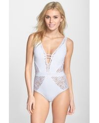 Becca - Blue 'show & Tell' Openwork One-piece Swimsuit - Lyst