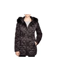 Pink Pony - Black Lauren Faux Fur Trim Coat - 100% Bloomingdale's Exclusive - Lyst
