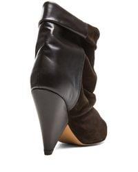Isabel Marant | Brown Andrew Calfskin Velvet Leather Boots | Lyst