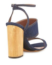 Tabitha Simmons - Blue Stevie Denim Block-heel Ankle-wrap Sandal - Lyst