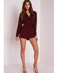 Missguided | Purple Wrap Front Shirt Playsuit Burgundy | Lyst