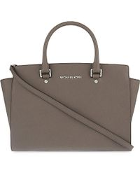 MICHAEL Michael Kors | Gray Selma Saffiano Leather Satchel | Lyst