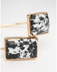 ASOS - Black Mono Stone Fine Open Cuff Bracelet - Lyst