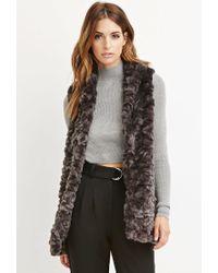 Forever 21 - Brown Contemporary Faux Fur Longline Vest - Lyst