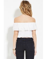 Forever 21 - White Off-the-shoulder Crop Top - Lyst