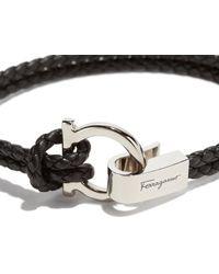 Ferragamo - Black Double Woven Bracelet With Gancini Hook Closure for Men - Lyst