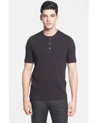 VINCE | Black Slubbed Cotton Short Sleeve Henley for Men | Lyst