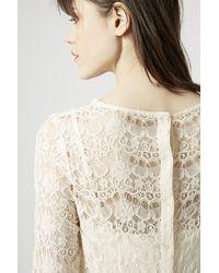 TOPSHOP | Natural Semi-Sheer Lace Top | Lyst
