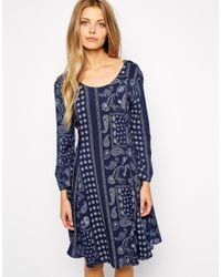 Vila - Blue Scarf Print Swing Dress - Lyst
