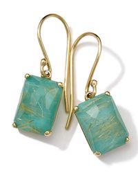 Ippolita   Green 18k Gold Rock Candy Gelato Single Rectangle Drop Earrings   Lyst