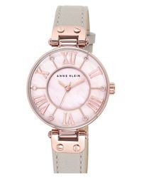 Anne Klein | Pink Crystal Index Leather Strap Watch | Lyst