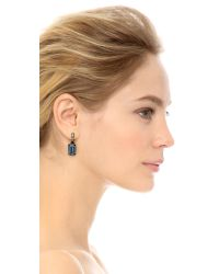 Oscar de la Renta - Blue Small Octagon Stone Earrings - Dark Navy/black - Lyst