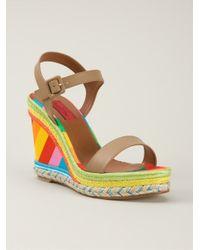 Valentino - Brown Striped Wedge Sandals - Lyst