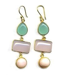 Wendy Mink | 3 Stone Drop Earrings, Peruvian Calcite, Rose Quartz, Pink Opal | Lyst