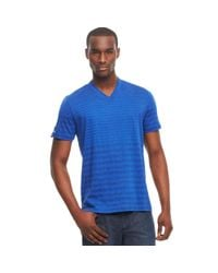 Kenneth Cole Reaction - Blue Striped Vneck Tshirt for Men - Lyst