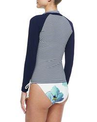 Tory Burch - Blue Persica Striped/floral-print Surf Shirt - Lyst