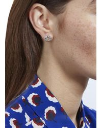 Vivienne Westwood - Metallic Silver Tone Embossed Orb Earrings - Lyst