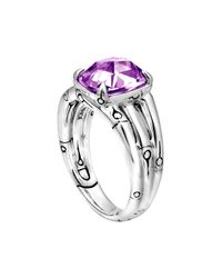 John Hardy | Metallic Small Bamboo Silver Ring with Octagon Amethyst | Lyst