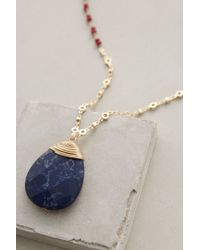 Anthropologie | Blue Wrapped Lapis Pendant Necklace | Lyst