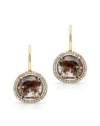 Anne Sisteron - 14kt Yellow Gold Organic Diamond Slice Wire Back Earrings - Lyst
