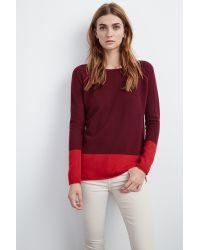 Velvet By Graham & Spencer | Red Marvella Colorblock Cashmere Sweater | Lyst