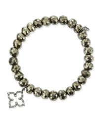 Sydney Evan | Metallic 8mm Faceted Champagne Pyrite Beaded Bracelet With 14k Gold/diamond Moroccan Charm | Lyst