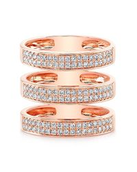 Anne Sisteron - Pink 14kt Rose Gold Diamond Large Triple Bar Ring - Lyst