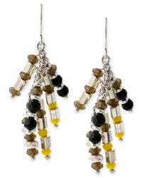 Kenneth Cole - Multicolor Silver-tone Mixed Bead Linear Earrings - Lyst