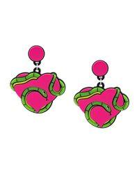 Yazbukey - Green 'snake Heart' Earrings - Lyst