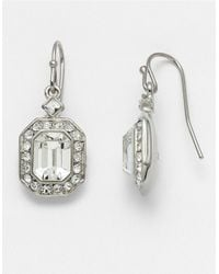 Carolee | Metallic Silvertone Emerald-cut Crystal Drop Earrings | Lyst