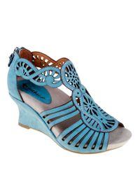 Earthies - Blue Caradonna Suede Wedge Sandals - Lyst