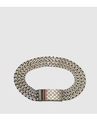 Gucci - Metallic Chain Bracelet With Diamante Motif Engraved Tag for Men - Lyst