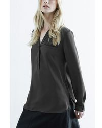 Warehouse - Natural Piped Detail Blouse - Lyst